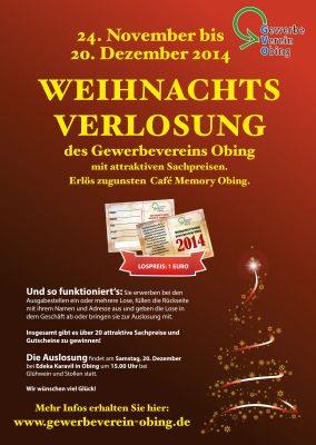 Plakat Weihnachtsverlosung 2014