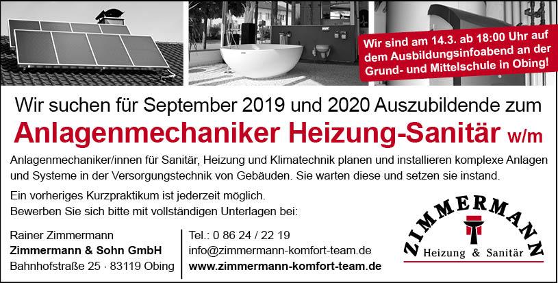Zimmermann Anlagenmechaniker Heizung-Sanitär (m/w)